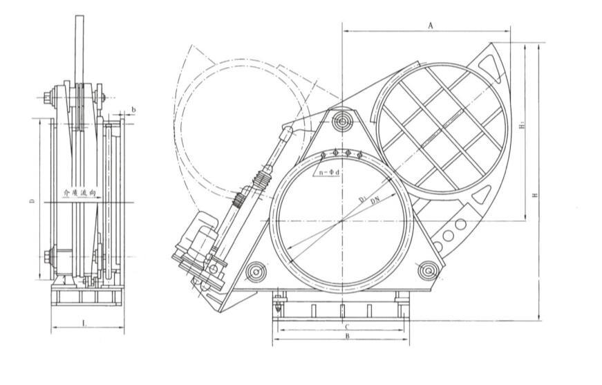 电动盲板阀简单结构尺寸图