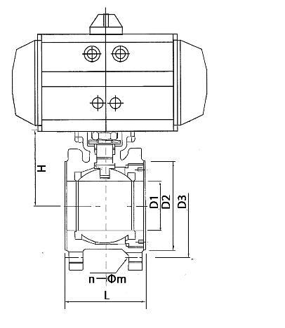 电动超薄对夹球阀Q971F外形结构图