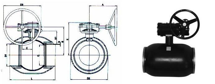 涡轮式全焊接球阀外形尺寸图