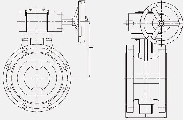 d341f4法兰衬氟蝶阀外形结构示意图和连接尺寸